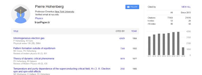 پروفایل عمومی نویسندگان در گوگل اسکولار