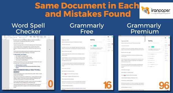 مقایسه Word spell checker با اکانت گرامرلی رایگان و اکانت پرمیوم گرامرلی